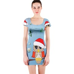 Funny, Cute Christmas Owls With Snowflakes Short Sleeve Bodycon Dresses by FantasyWorld7