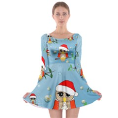 Funny, Cute Christmas Owls With Snowflakes Long Sleeve Skater Dress
