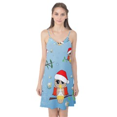 Funny, Cute Christmas Owls With Snowflakes Camis Nightgown by FantasyWorld7