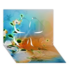 Wonderful Flowers In Colorful And Glowing Lines Clover 3d Greeting Card (7x5)