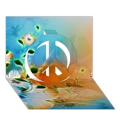 Wonderful Flowers In Colorful And Glowing Lines Peace Sign 3d Greeting Card (7x5)  by FantasyWorld7