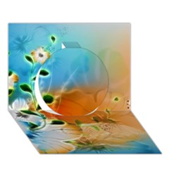 Wonderful Flowers In Colorful And Glowing Lines Circle 3d Greeting Card (7x5)