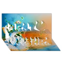Wonderful Flowers In Colorful And Glowing Lines Best Wish 3d Greeting Card (8x4)