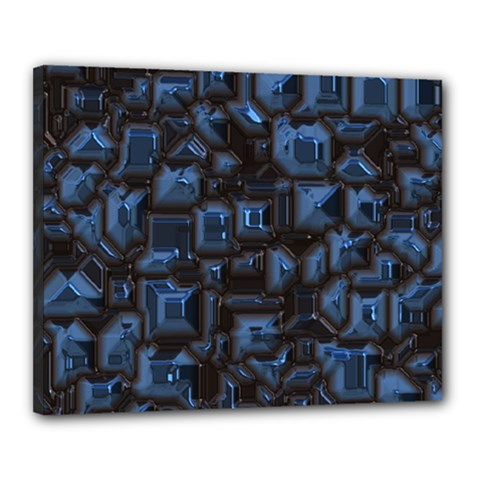 Metalart 23 Blue Canvas 20  X 16  by MoreColorsinLife