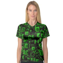 Metalart 23 Green Women s V Neck Sport Mesh Tee by MoreColorsinLife