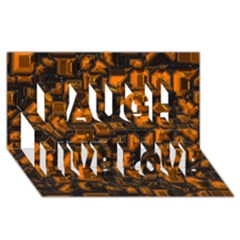Metalart 23 Orange Laugh Live Love 3d Greeting Card (8x4)