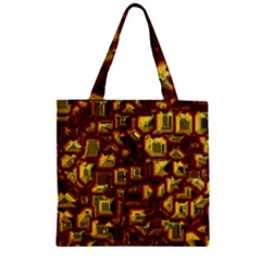 Metalart 23 Red Yellow Zipper Grocery Tote Bags by MoreColorsinLife
