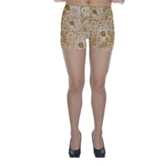 Flower Pattern In Soft  Colors Skinny Shorts by FantasyWorld7