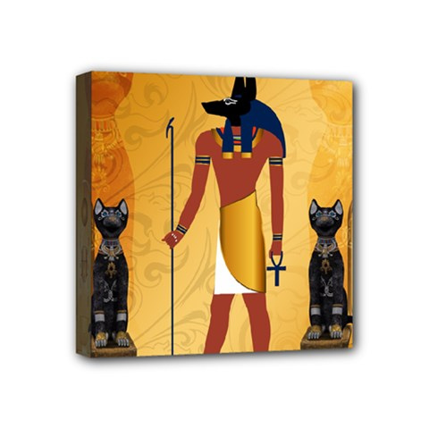 Anubis, Ancient Egyptian God Of The Dead Rituals  Mini Canvas 4  X 4  by FantasyWorld7