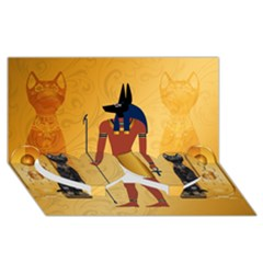 Anubis, Ancient Egyptian God Of The Dead Rituals  Twin Heart Bottom 3d Greeting Card (8x4)