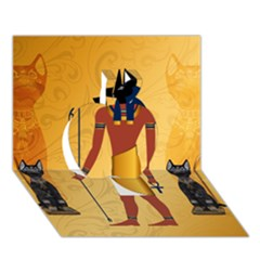 Anubis, Ancient Egyptian God Of The Dead Rituals  Apple 3d Greeting Card (7x5)  by FantasyWorld7