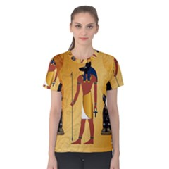 Anubis, Ancient Egyptian God Of The Dead Rituals  Women s Cotton Tees by FantasyWorld7