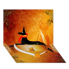 Anubis, Ancient Egyptian God Of The Dead Rituals  Heart Bottom 3d Greeting Card (7x5)  by FantasyWorld7
