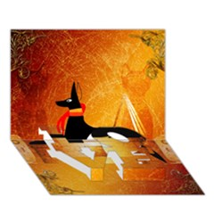 Anubis, Ancient Egyptian God Of The Dead Rituals  Love Bottom 3d Greeting Card (7x5)  by FantasyWorld7