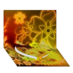Glowing Colorful Flowers Heart Bottom 3d Greeting Card (7x5)