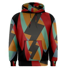 Fractal Design In Red, Soft Turquoise, Camel On Black Men s Pullover Hoodies