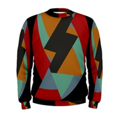 Fractal Design in Red, Soft-Turquoise, Camel on Black Men s Sweatshirts by theunrulyartist