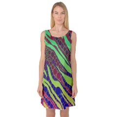 Florescent Zebra Print Pattern  Sleeveless Satin Nightdresses by OCDesignss