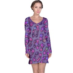 Purple Cheetah Pattern  Long Sleeve Nightdresses by OCDesignss