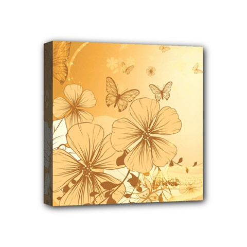 Wonderful Flowers With Butterflies Mini Canvas 4  X 4  by FantasyWorld7