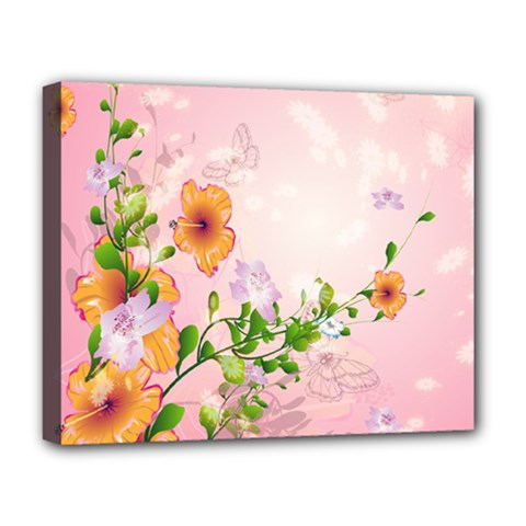 Beautiful Flowers On Soft Pink Background Deluxe Canvas 20  X 16   by FantasyWorld7