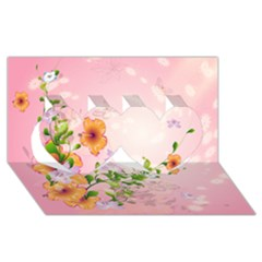 Beautiful Flowers On Soft Pink Background Twin Hearts 3d Greeting Card (8x4)  by FantasyWorld7