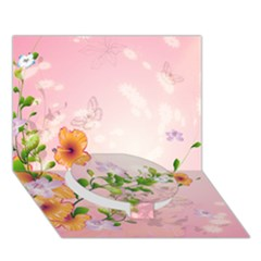 Beautiful Flowers On Soft Pink Background Circle Bottom 3d Greeting Card (7x5)