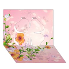 Beautiful Flowers On Soft Pink Background Clover 3d Greeting Card (7x5)