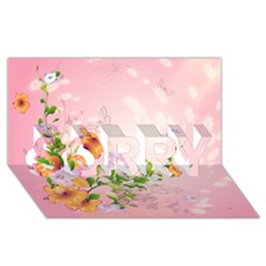 Beautiful Flowers On Soft Pink Background Sorry 3d Greeting Card (8x4)