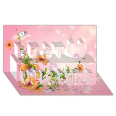 Beautiful Flowers On Soft Pink Background Best Wish 3d Greeting Card (8x4)  by FantasyWorld7