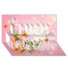 Beautiful Flowers On Soft Pink Background Laugh Live Love 3D Greeting Card (8x4)