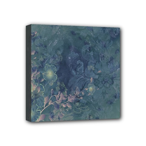 Vintage Floral In Blue Colors Mini Canvas 4  X 4  by FantasyWorld7