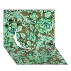 Beautiful Floral Pattern In Green Circle 3d Greeting Card (7x5)  by FantasyWorld7