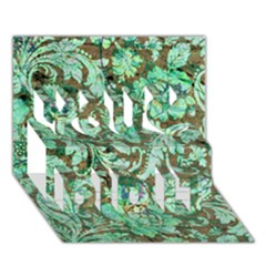 Beautiful Floral Pattern In Green You Did It 3d Greeting Card (7x5) by FantasyWorld7