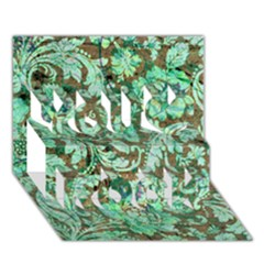 Beautiful Floral Pattern In Green You Rock 3d Greeting Card (7x5)