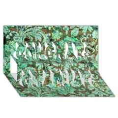 Beautiful Floral Pattern In Green Congrats Graduate 3d Greeting Card (8x4)  by FantasyWorld7