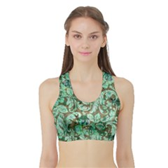 Beautiful Floral Pattern In Green Women s Sports Bra With Border by FantasyWorld7