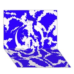 Migraine Blue Peace Sign 3d Greeting Card (7x5)
