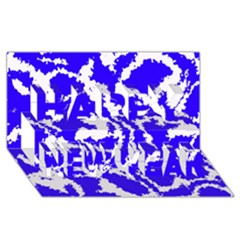 Migraine Blue Happy New Year 3d Greeting Card (8x4)  by MoreColorsinLife