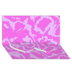 Migraine Pink Twin Heart Bottom 3d Greeting Card (8x4)  by MoreColorsinLife