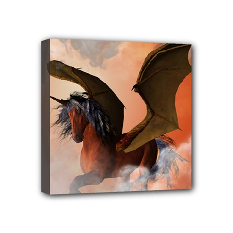 The Dark Unicorn Mini Canvas 4  X 4  by FantasyWorld7