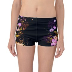 Awesome Flowers With Fire And Flame Reversible Boyleg Bikini Bottoms by FantasyWorld7