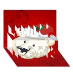 Funny Polar Bear You Rock 3d Greeting Card (7x5)