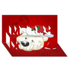 Funny Polar Bear Merry Xmas 3d Greeting Card (8x4)
