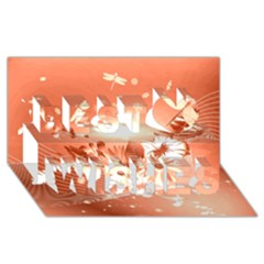 Amazing Flowers With Dragonflies Best Wish 3d Greeting Card (8x4)