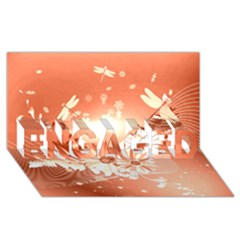 Amazing Flowers With Dragonflies Engaged 3d Greeting Card (8x4)
