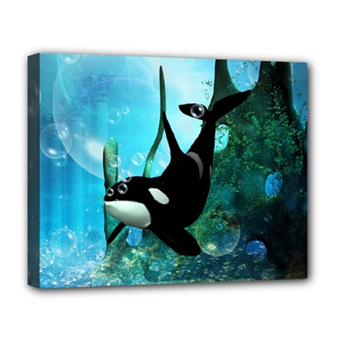 Orca Swimming In A Fantasy World Deluxe Canvas 20  X 16   by FantasyWorld7
