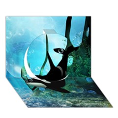 Orca Swimming In A Fantasy World Circle 3d Greeting Card (7x5)