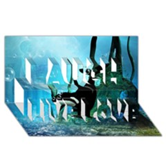 Orca Swimming In A Fantasy World Laugh Live Love 3d Greeting Card (8x4)
