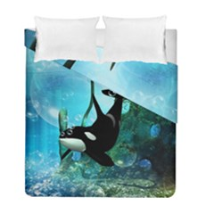 Orca Swimming In A Fantasy World Duvet Cover (Twin Size) by FantasyWorld7